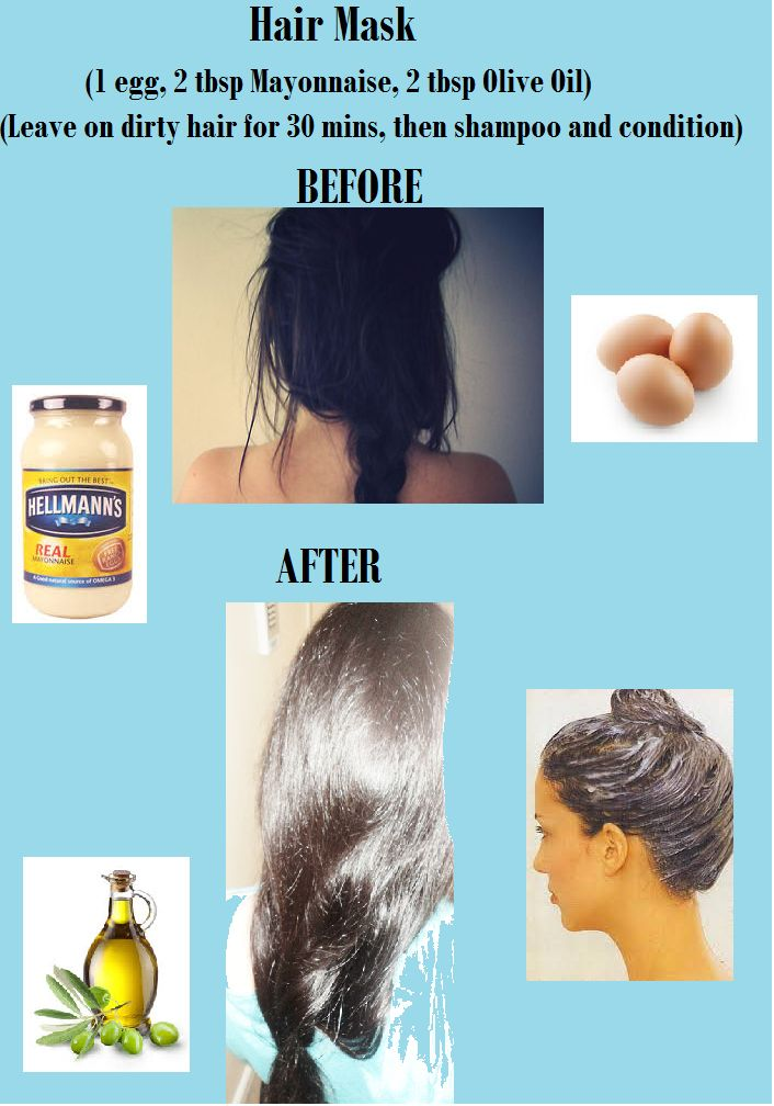hair mask for soft, shiny, healthy hair. eggs, mayonnaise, olive oil