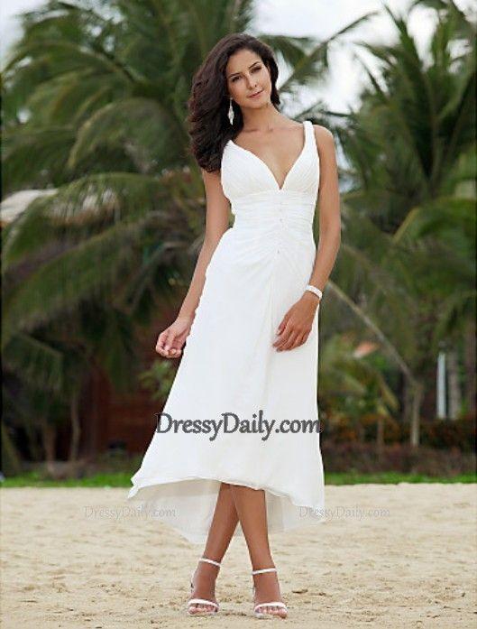 Beautiful A-Line V-neck Asymmetrical Tea-length Chiffon Beach Wedding Dress - Wedding Dresses - Weddings