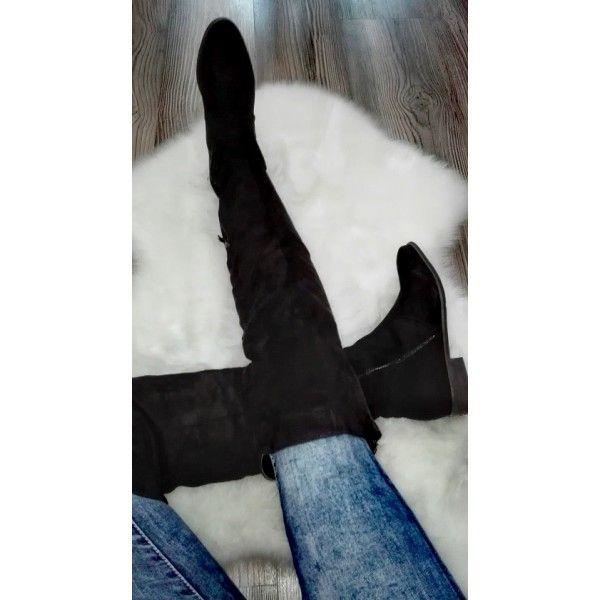Semišové čižmy nad kolená Black Suede