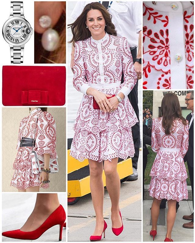 It was a little bit of a different look to her usual today but the Duchess looked flawless once again in an ensemble that echoes the Canadian flag as she and William embarked on a day of engagements in Vancouver.  The bespoke £4,000/$5,000 Alexander McQueen dress comes from the label's Resort 2017 collection. The white button-up tiered dress with red pattern was modified to make the sleeves and hemline longer for Kate. It features buttons with hand-painted flowers and studs around the…