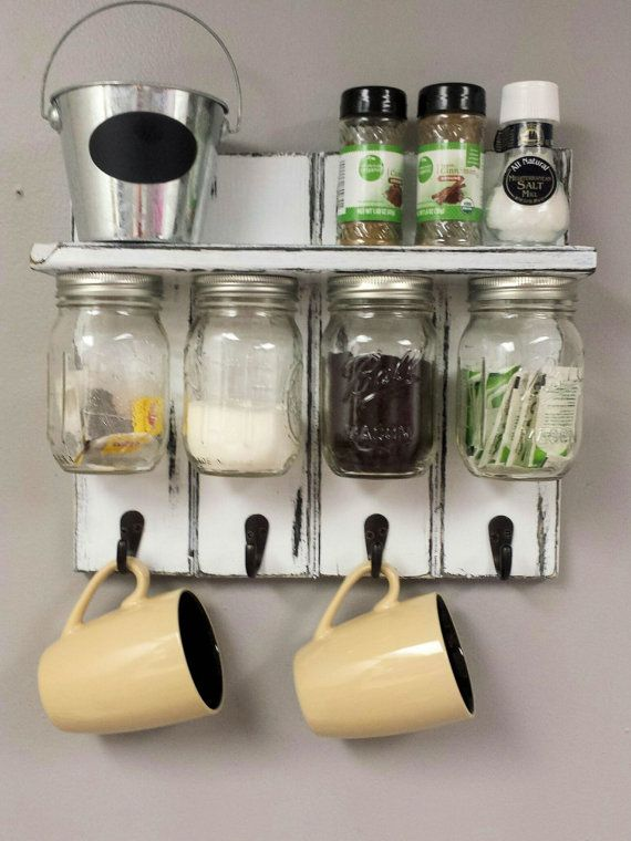 $45 Mason Jar Organizer With Shelf And Coffee Cup Hooks. Rustic Style  Decor. Kitchen