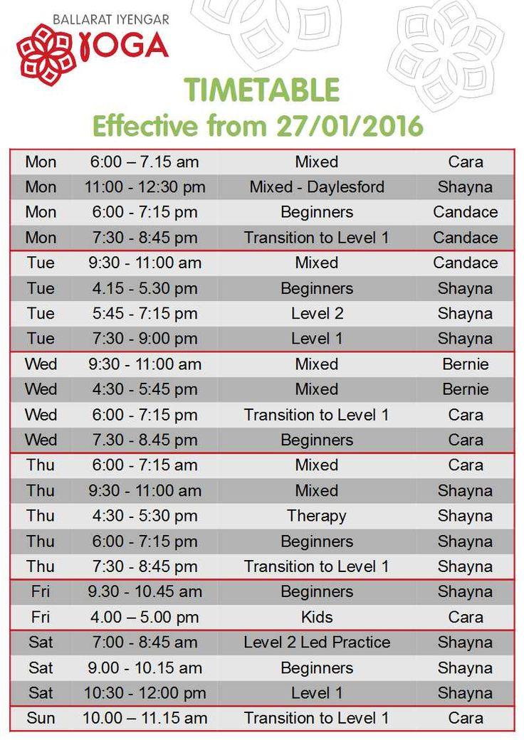 Latest timetable starting 27/01/16 #ballaratyoga