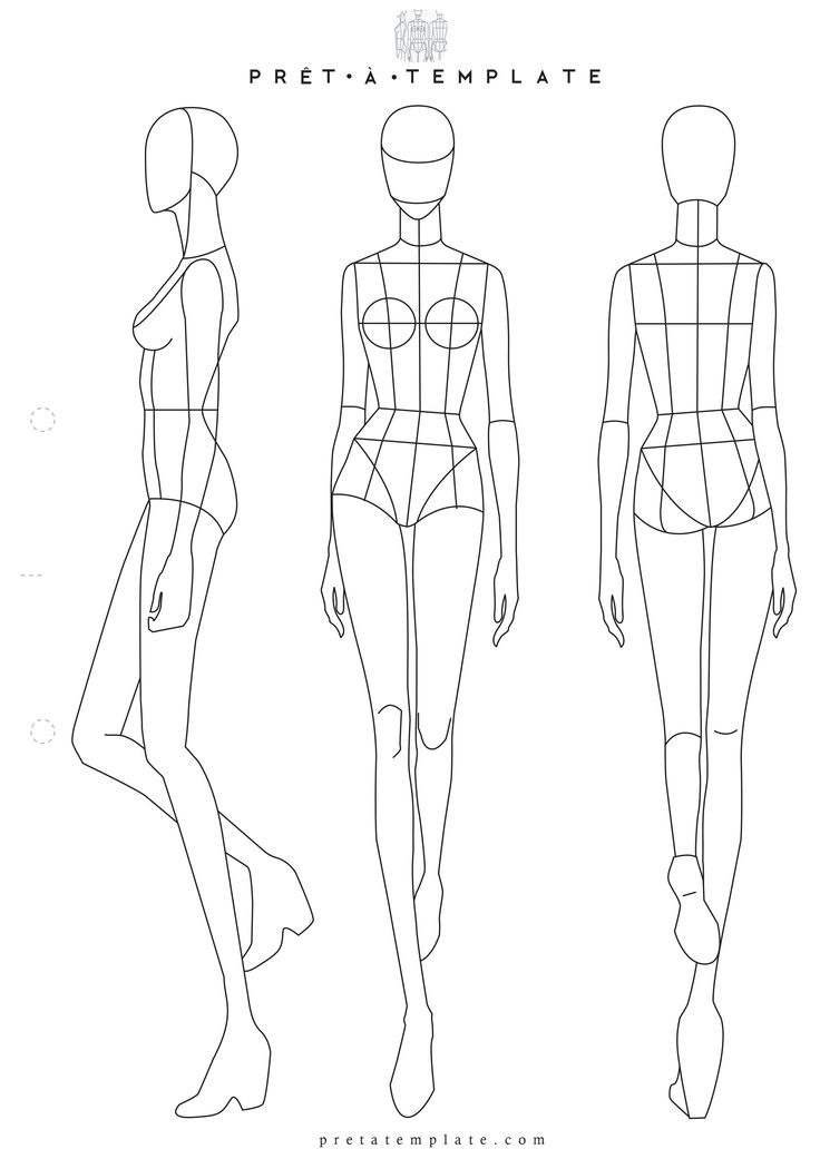 Woman body figure fashion template (D-I-Y your own Fashion Sketchbook) (Keywords: Fashion, Illustration, drawing, design, tool, App)