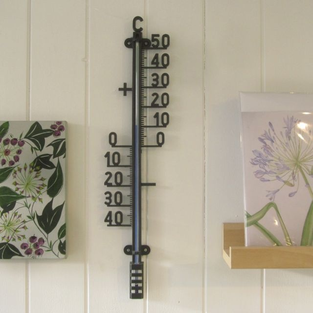 Indoor outdoor thermometer from France: stylish and useful. Every garden should have at least one thermometer somewhere.