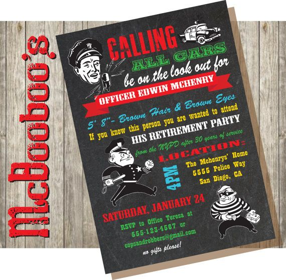 Chalkboard Police Retirement Party Invitations by McBooboos. This is perfect for the party!!