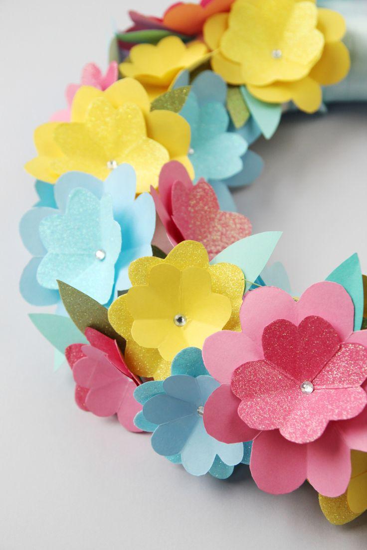 Diy paper flower wreath ruffled - Diy Spring Paper Flower Wreath