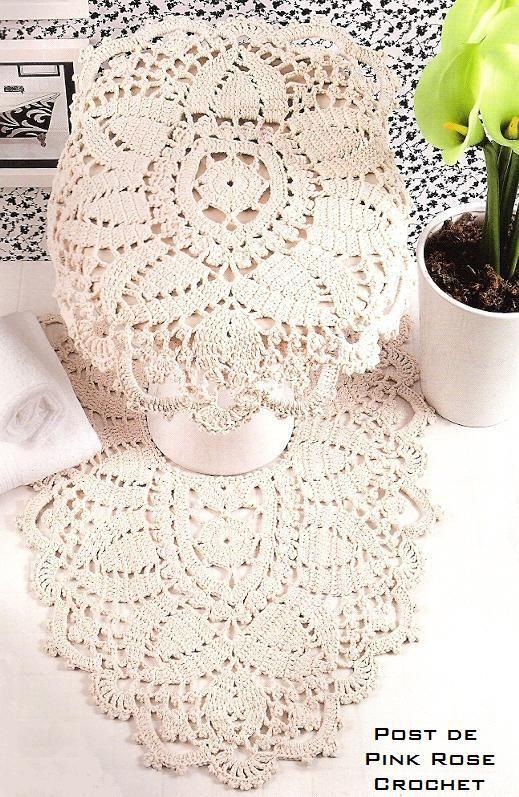 Complete crochet bathroom set with diagrams.