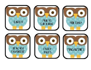 FREE book tub labels with a cute owl theme!