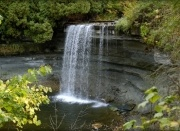 """Bridal Veil Falls in Kagawong, on Manitoulin Island, Ontario.  Kagawong means """"where the mist gathers"""" in our langauge.      That was an amazing place to grow up - salmon swim up the stream to mate here...and at the bay/entrance to Lake Huron once a year the smelts would come... that was sooo cool!"""