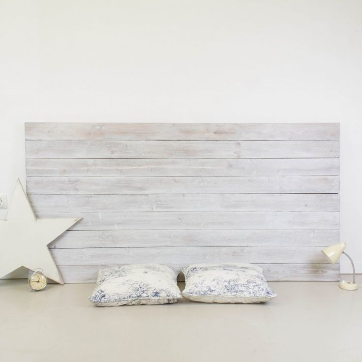 Cabecero de madera rústica acabado envejecido blanco   Antic