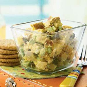 Cooking Light: Curried Chicken Salad with Apples and Raisins. I want to try it with Greek yogurt! :)