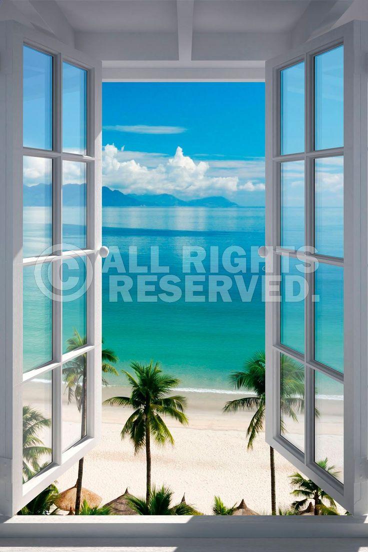 Poster: Beach Window online te koop. Bestel je poster, je 3d filmposter of soortgelijk product Deco Panel 60x90