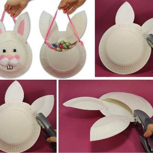 easter bunny basket recycling paper plates