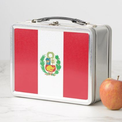 Metal Stainless Lunchbox with Peru flag - kitchen gifts diy ideas decor special unique individual customized