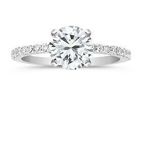 Petite Pavé Diamond Engagement Ring with Brilliant Round Diamond