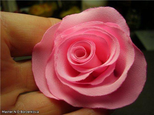 Розочка из ткани - Цветы из ткани и бумаги