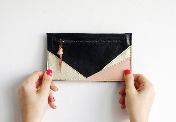 leather pouch by L'indiscrète // french handmade #pouch #leather #black #gold #pink