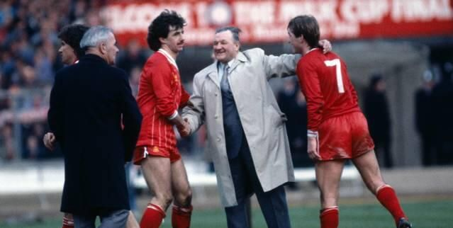 Mark Lawrenson and Kenny Dalglish with Liverpool manager Bob Paisley.