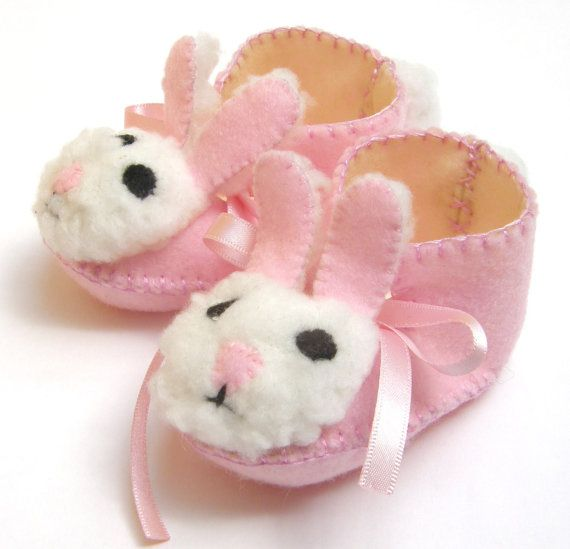 Pink and Cream Mrs Bunny Babies Shoes Baby Girl Booties Easter Gift by funkyshapes, $29.95