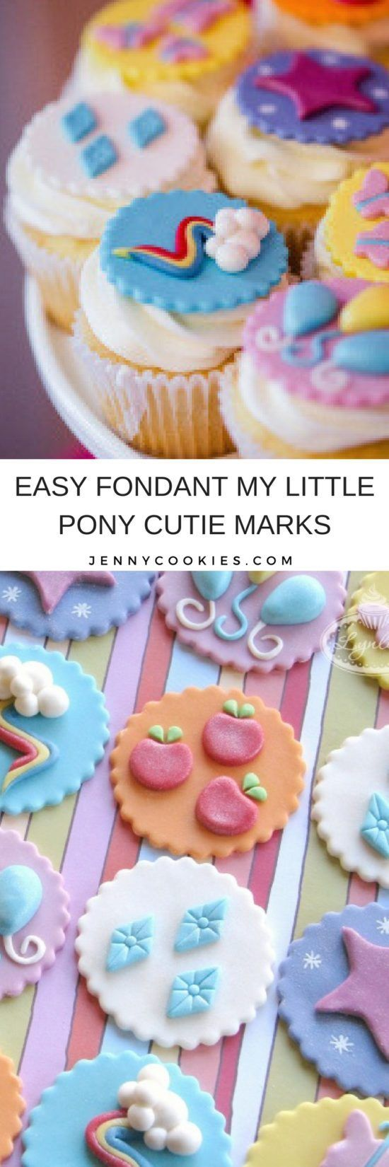 My Little Pony Cutie Mark Fondant Tutorial | fondant tutorial | My Little Pony cupcake decor | decorate with fondant | step by step fondant tutorial | how to decorate cupcakes with fondant || JennyCookies.com #fondant #mylittlepony #cupcakedecor
