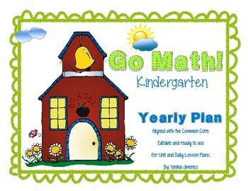 Go Math! Kindergarten Yearly Paced Plan aligned with the Common Core. Editable Annual Plan ready to use for unit and daily lesson plans.Enjoy and save time!