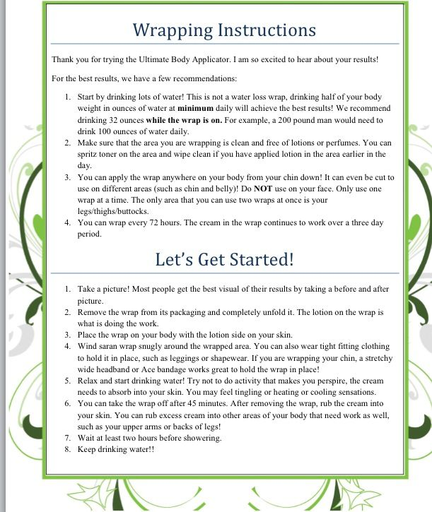 Instructions on how to wrap your body! http://workwithkelly.weebly.com/it-works