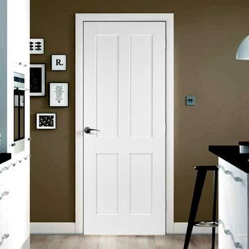 Victorian Shaker 4 Panel Fire Door is 1/2 Hour Fire Rated and White Primed