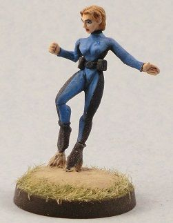 Grav Girl from Old Glory Miniatures, painted up to serve as Lady Blue from the Champions RPG. Painted by JD Wiker.