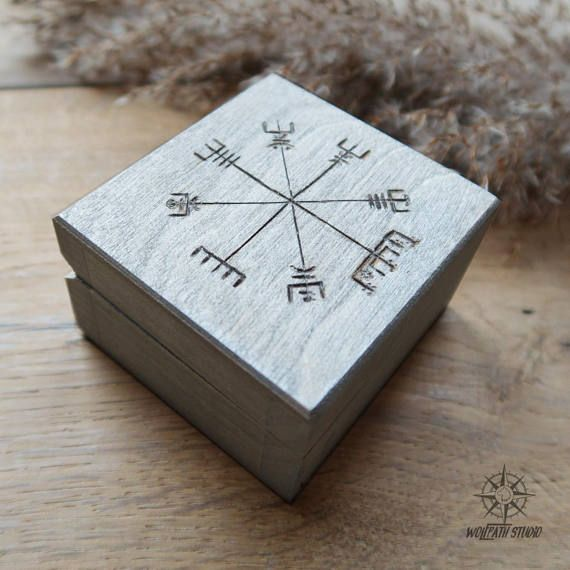Viking Compass box Vegvisir wooden chest Viking jewelry box