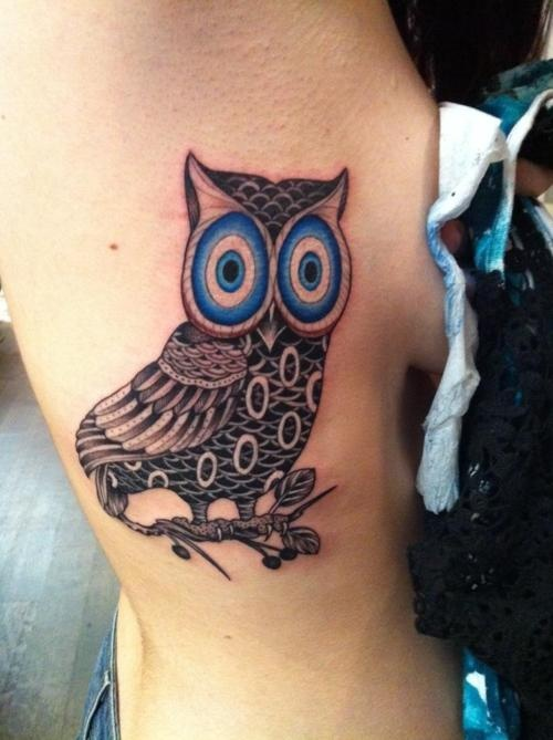 """""""owl of Athena tattoo inspired by nazar boncuğu  (evil eye beads)  :::   Ami James on NY Ink""""  Love this idea!! I want an owl tattoo to symbolize Athena and to get a nazar with it is genius!"""