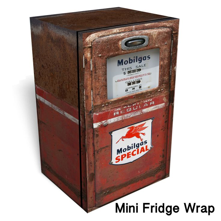 Mini Man Cave Locations : Mobilgas red rust mini fridge wrap and minis