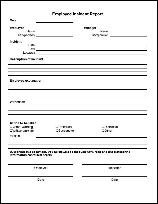 Employee Incident Report Template | description of incident employee explanation witnesses action to be ...