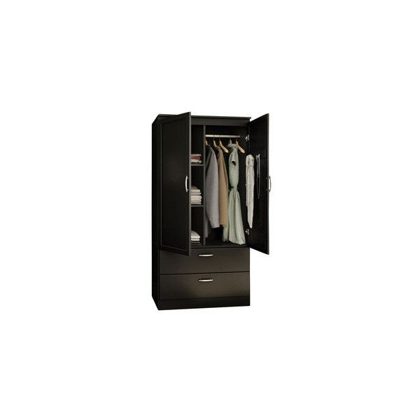 South Shore Acapella Transitional Style Wardrobe Armoire in Pure Black ❤ liked on Polyvore featuring home, furniture, storage & shelves, armoires, transitional furniture, black armoire, black wardrobe, black furniture and onyx furniture