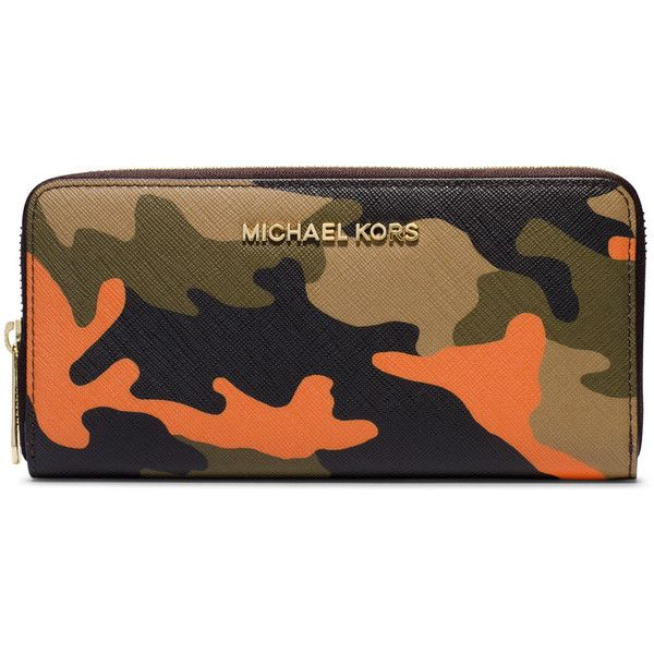 MICHAEL Michael Kors Jet Set Camo Saffiano Continental Wallet ($103) ❤ liked on Polyvore featuring bags, wallets, poppy, saffiano leather wallet, brown wallet, camo bags, saffiano leather bag and logo bags
