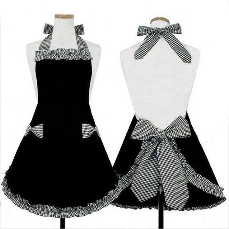 Elegant Kitchen Apron, Cotton, Black+White+Red/Black+White/Red+White, Vintage/Retro Style