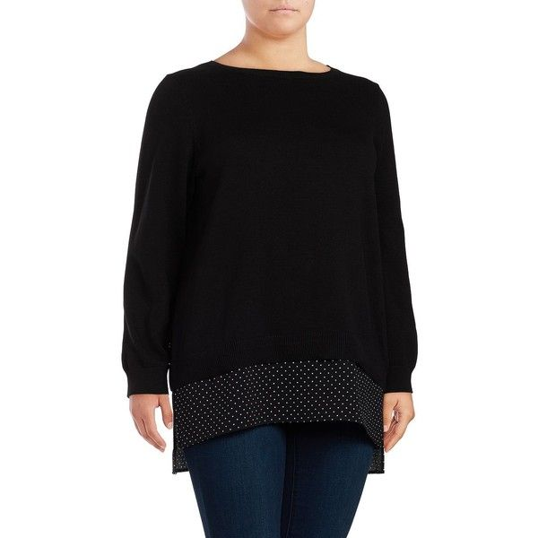 Michael Michael Kors Plus Women's Mock Layered Hem Sweater ($20) ❤ liked on Polyvore featuring plus size women's fashion, plus size clothing, plus size tops, plus size sweaters, black, double layer sweater, crewneck sweater, crew neck tops, layered sweater and mock layer top