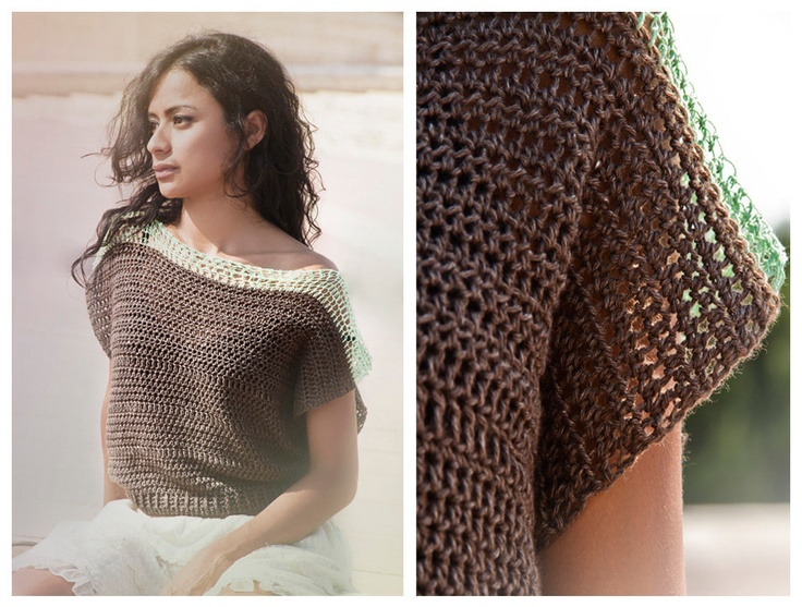 Jumper in chocolate and mint, crocheted vest in deep brown bamboo and yak yarn with mint green cotton shoulders, seamless crocheted top. $250.00, via Etsy.