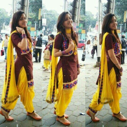 brown yellow kurti suit...@@