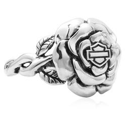 Sterling Silver Harley Women's Bar & Shield Rose Ring