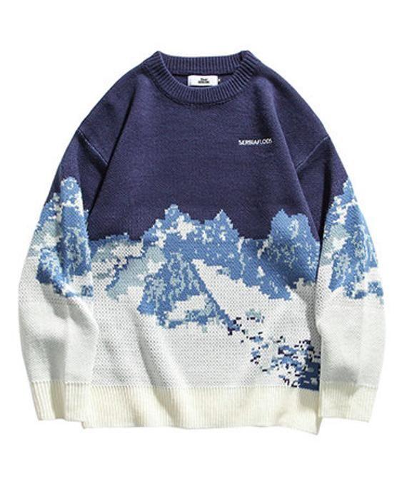 Vintage Blue Round Neck Knit Pullover Jumper Sweater