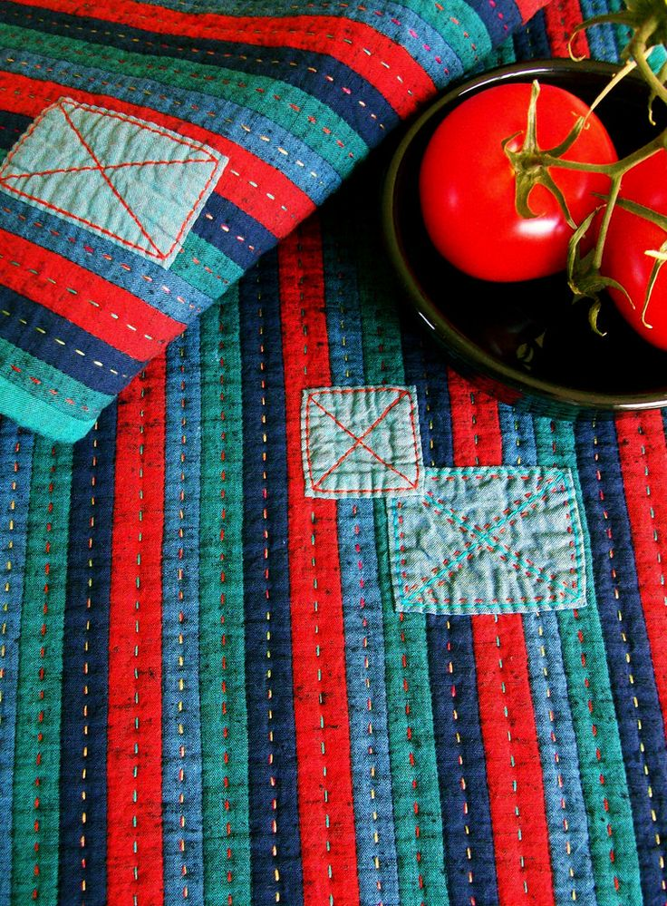 Stitched, Patched and Quilted Table Runner - Detail | by BooDilly's
