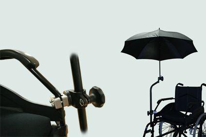 Paraplu/Parasol geschikt voor op rolstoel voor tijdelijk of incidenteel gebruik.