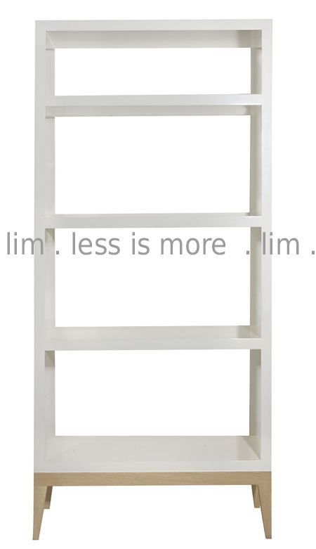 30SH/TALL/TAP/OAK - B7. 30SH/Tall/Tap/Oak -  32mm white sprayed shelf unit on solid oak frame and tapered legs