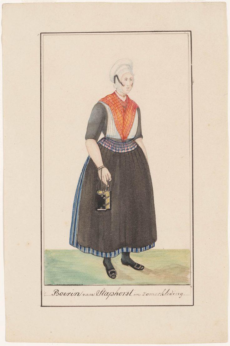 Boerin van Staphorst in zomerkleding. 1842-1864 kunstenaar: Haasloop Werner, Heinrich Gottfried #Overijssel #Staphorst