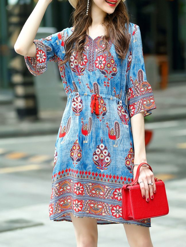 Shop Blue Drawstring Tribal Print Dress online. SheIn offers Blue Drawstring Tribal Print Dress & more to fit your fashionable needs.