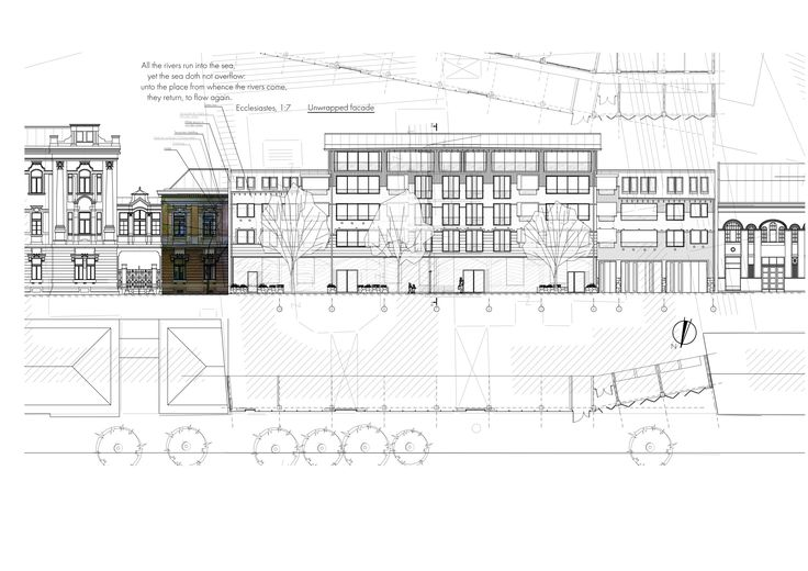 Architectural design of the street facade for the new building /  Subotica, Serbia / sketch for competition