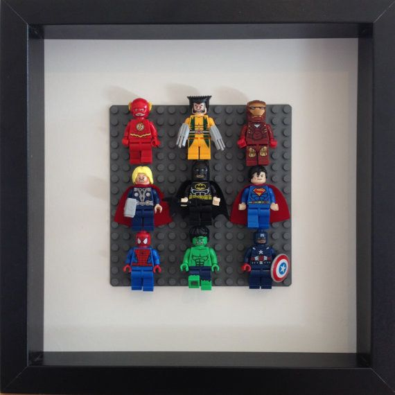 Frame Lego Super Heroes in a shadow box. | 23 Ideas For Making The Ultimate Superhero Bedroom