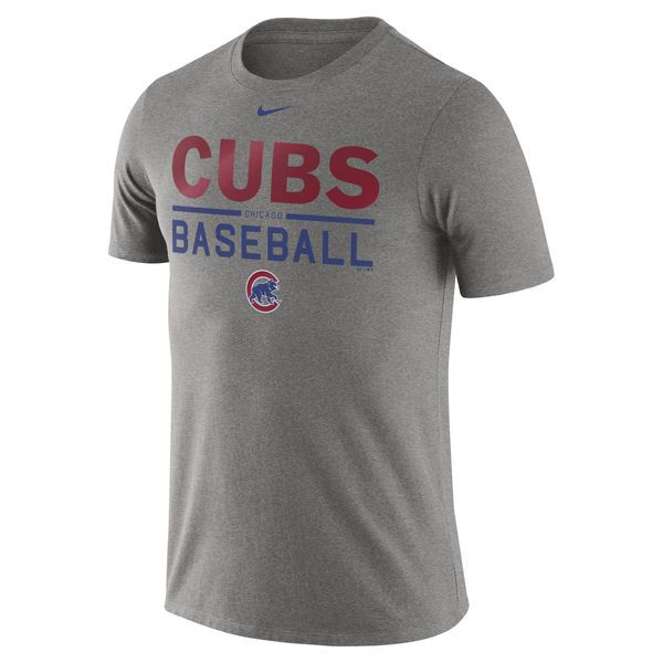 Men's Chicago Cubs Nike Heathered Gray Practice T-Shirt -