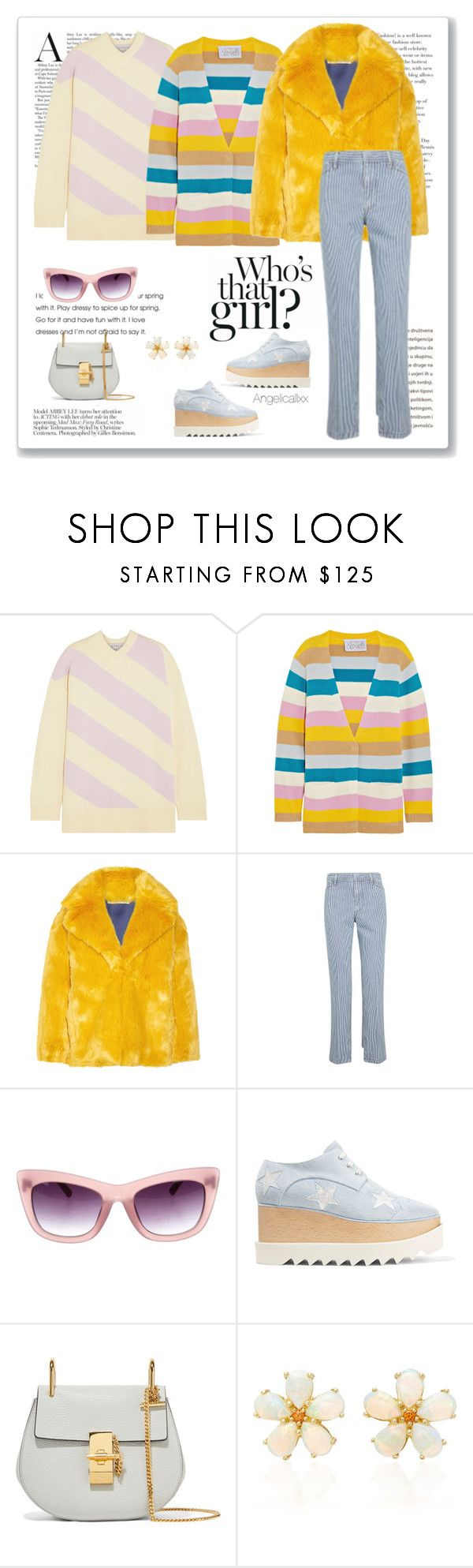 """""""Stripes Layers"""" by angelicallxx ❤ liked on Polyvore featuring Victor Glemaud, Diane Von Furstenberg, Toga, Linda Farrow, STELLA McCARTNEY, Chloé, Paul Morelli, stripesonstripes and PatternChallenge"""