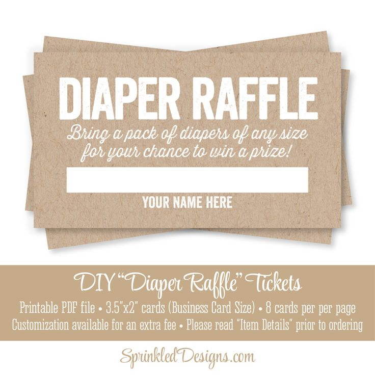 Baby Shower Games With Diapers Part - 33: Printable Diaper Raffle Tickets - Rustic Brown Kraft Paper Fun Baby Shower  Game Ideas - Bring